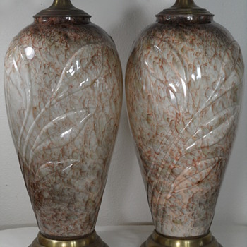 ART GLASS TABLE LAMPS - CLEAR CASED - GRASS MOTIF - Art Glass
