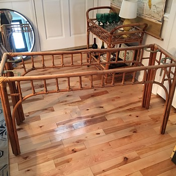 Rattan Chippendale Sofa Table with Brass Brackets