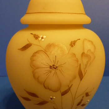 Fenton satin glass hand painted covered jar - Glassware