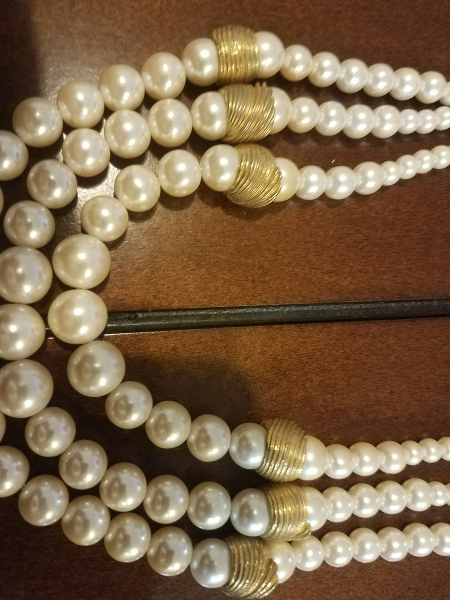 Elegant Triple Strand Faux Pearl And Gold Tone Necklace By