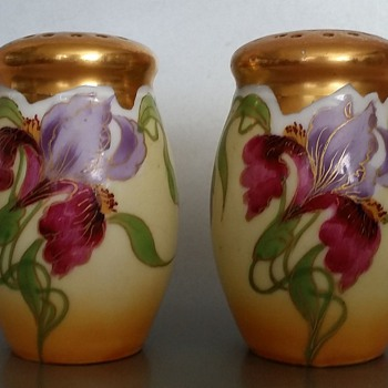 E. Feix Gold Gilt Iris Salt and Pepper Shakers Art Nouveau? - Kitchen