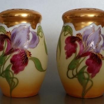 E. Feix Gold Gilt Iris Salt and Pepper Shakers Art Nouveau?