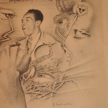 "Charlie Parker ""The Bird"" Jazz Saxophone Player from the 40's signed by Artist J. McDonald  - Music Memorabilia"