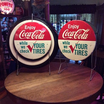 Enjoy Coca-Cola while we check you tires stand...1960's - Coca-Cola