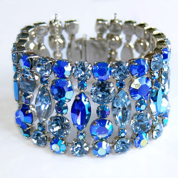Sherman Rare Blue Extra Wide Bracelet - Costume Jewelry