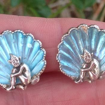 Bernard Instone Enamel and Pixie earrings