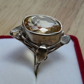 Australian Arts and Crafts SIGNED WAGER Silver Citrine Ring - Arts and Crafts