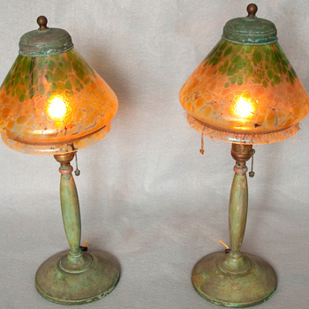 A Pair of  Art Nouveau Lamps with Bohemian Art Glass Shades - Art Glass