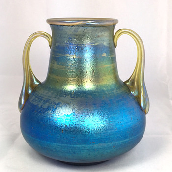"Loetz Cobalt ""Norma"" Two-Handled Vase. 5.5"" Tall. Circa 1918+ - Art Glass"