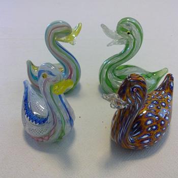 Murano Latticino Ducks - Art Glass