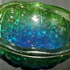 Blue to Green Cut Glass footed Bowl Marked 7 on bottom