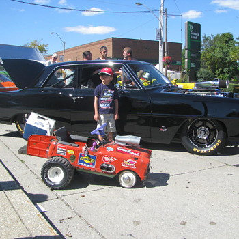 58 thistle pedal car wagon rat rod, now electric - Toys