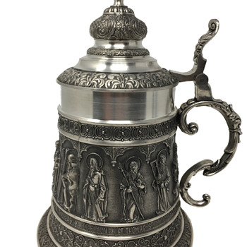 Massive Pewter Stein with Panels Depicting Saints - Breweriana
