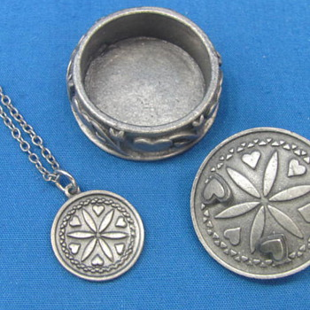 """Vintage Pewter-look Set - Necklace - Pin - Earrings - In Box by Torino - Box is 1 1/8"""" in diameter - Costume Jewelry"""