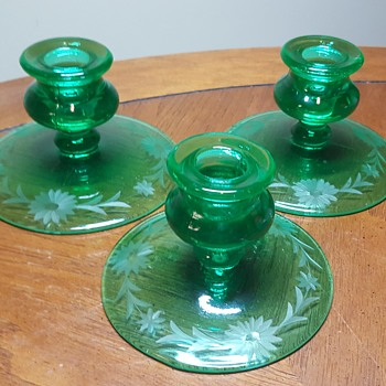Uranium Glass Candle Holders
