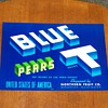 (NOS) New Old Stock - Blue T Pears Fruit Crate Label