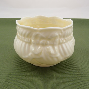 Belleek Ribbon Sugar- 3rd black mark - Pottery