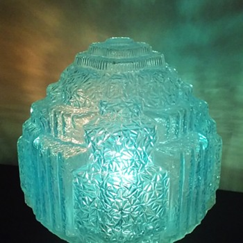 large fancy antique 'pressed glass' (?) hanging light globe  - Lamps