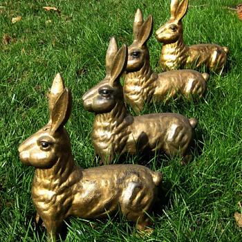 Cast Iron Hares and Bronze English Bulldog - Animals