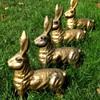 Cast Iron Hares and Bronze English Bulldog