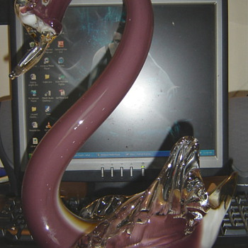 HUGE Glass swan - Art Glass
