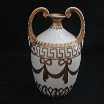 White Porcelain Vase - Heavy Gold Overlay - Pottery