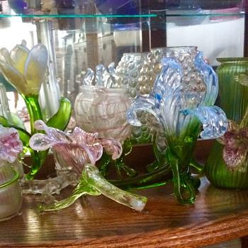 """Kralik Floriforms """"my Garden"""" of Vases.  - Art Glass"""