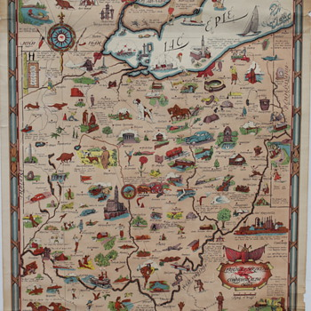 Vintage Mobilgas Pegasus Ohio Travel Map Illustrated Poster - Petroliana