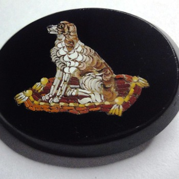 A Micro Mosaic Dog on Cushion brooch  - Victorian Era