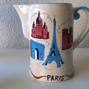 Pre-1960 Paris, France Musical Hand Painted Souvenir Pitcher