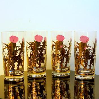 Gregory Duncan Gold Leaf & Purple Thistle Barware Glasses - Kitchen