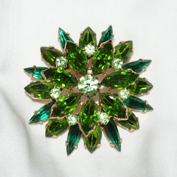 Unmarked Rhinestone Brooch - Costume Jewelry