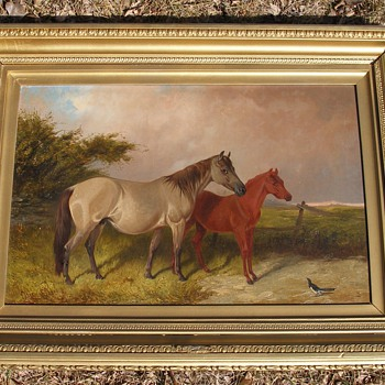 Old Beautiful Horse and colt  Oil painting