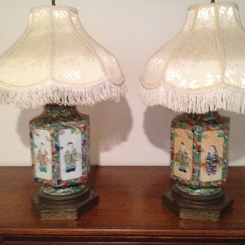 Satsuma Lamps with carved metal base