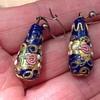 Antique Enamelled Glass Earrings