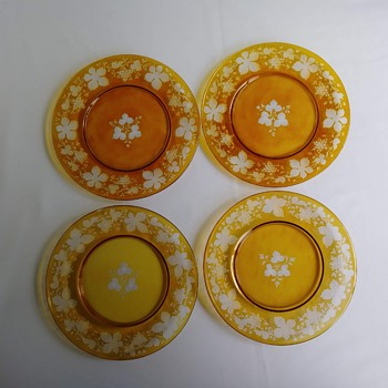 Amber Salad Plates - Very Imperfect Looking - Art Glass