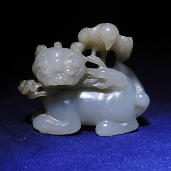 19th Century (?) Chinese White Jade Okimono - Asian