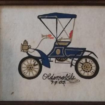 HAND PAINTED ON CLOTH - Classic Cars