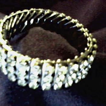 """Empire Made""  Three Row Diamante Rhinestone Expandable Bracelet / Circa 1950 - Costume Jewelry"