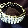 """Empire Made""  Three Row Diamante Rhinestone Expandable Bracelet / Circa 1950"