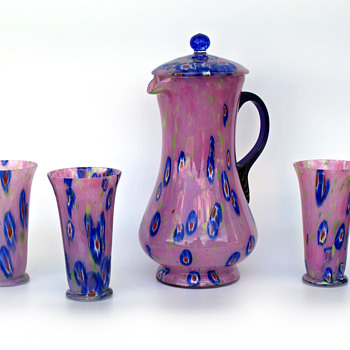 Kralik caned/millefiori pink glass powder pitcher and glasses - Art Glass