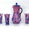 Kralik caned/millefiori pink glass powder pitcher and glasses