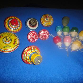 Vintage Toy Tin & Wood Tops - Toys