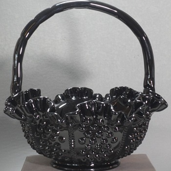"Fenton - Black Hobnail Basket - #3638 - 8 1/2"" - Art Glass"
