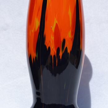 Czech spatter with pull vase - Art Glass