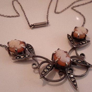 Art deco marcasite & shell cameo necklace