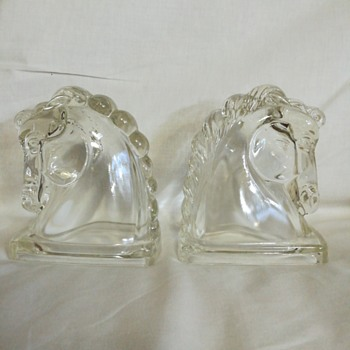 Federal Glass horse head bookends, circa 1950s