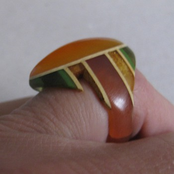 Celluloid & bakelite ring made from toothbrushes, etc.  - Costume Jewelry