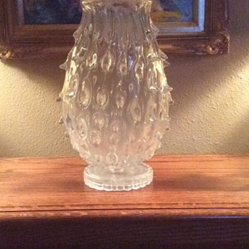 Just found this....anyone know what it is. It is blown and appears to have been a lamp or sconce possibly - Art Glass