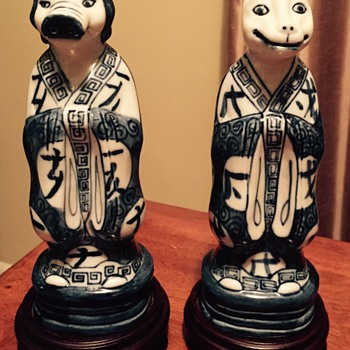Chinese porcelain figures dog and pig?  - Asian